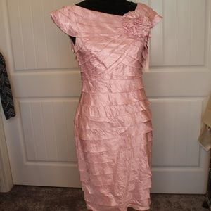 Elegant Shiny Mauve Layered Fitted Satin Dress